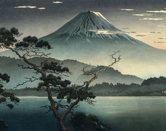 """Japanese Art Print """"Fuji from Lake Kawaguchi"""" by Tsuchiya Koitsu, woodblock print reproduction, Japan, cultural art, landscape, lake"""