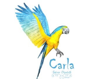 Carla 1, yellow, blue, turkis, Watercolor Clipart, Baby, Child, Fun, Craft