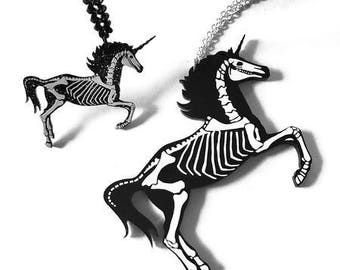 Unicorn Skeleton Necklace - 2 sizes