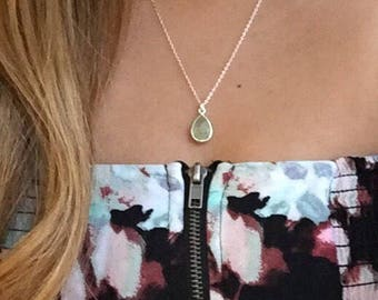 Prehnite teardrop sterling silver necklace, sterling silver gemstone bezel necklace, heart chakra, soothes worry, Libra birthstone