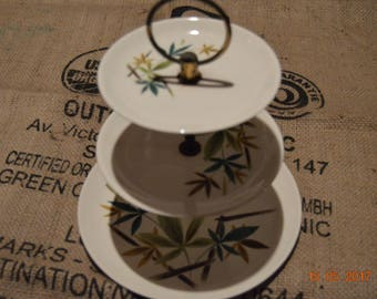 Vintage tiered dessert plates/ Bamboo leaves