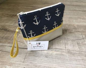 Leather Diaperpouch Toiletries bag - Blue Jean Anchors Mustart/Cosmetic bag / diaper clutch / diaper purse /diaper bag