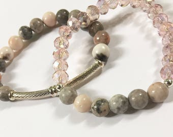 Pink and GreyJasper and Glass Beaded Bracelet Stack
