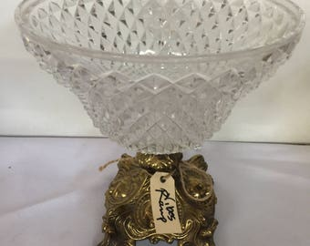 Pedestal Cut Glass and Brass Dish