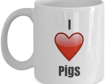 I Love pigs unique ceramic coffee mug Gifts Idea