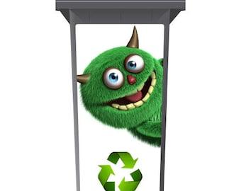 The Shaggy Recycling Monster Wheelie Bin Sticker Panel