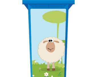 Fluffy White Sheep Wheelie Bin Sticker Panel