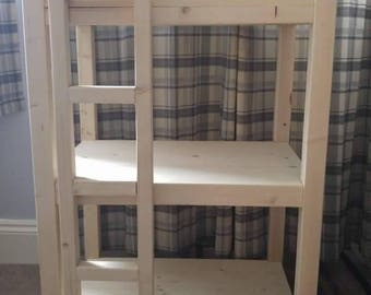 Handmade Pine cat bunk beds with ladder.