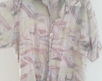 Mens XL Vintage S/S Pink Shirt