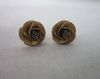 Antique Brushed 14 K Gold Filled Figural Rose Pierced Post Stud Earrings with small diamond chip.