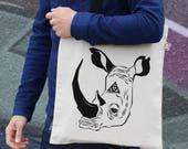 Rhino Canvas Tote Animal Print Bag Rhino Head Cotton Tote Hemp Bag Beach Bag Shopping Bag Shoulder Bag Cool Tote Gift TT005