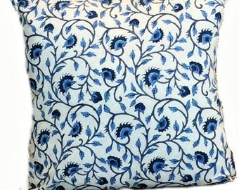 Blue White Hand Block Print Throw Pillow Cover