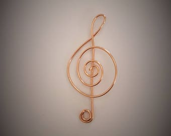 Pendant or copper bookmark treble clef