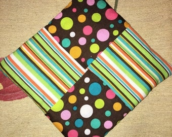 Handmade Hot Pad/ Pot Holder in Stripes and Polka Dots