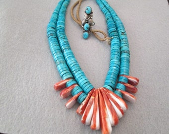 SALE>>Old Pawn>Extremley RARE>> Gorgeous Kingman Turquoise & Spiny Oyster CEREMONIAL Navajo Necklace>>Beyond Beautiful!