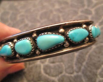 """SALE>>Old Pawn Hopi Indian>> Hallmarked """"HN"""" >>Sterling Silver & Sleeping Beauty Turquoise Cuff Bracelet>> Shadowbox design>> Gorgeous!"""