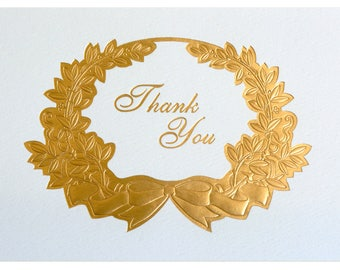 Premium Gold Foil Thank you Cards - Set of 10 Greeting Cards + cream Envelopes, for Weddings/special occasions