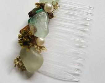 Handmade sea glass and moss hair comb