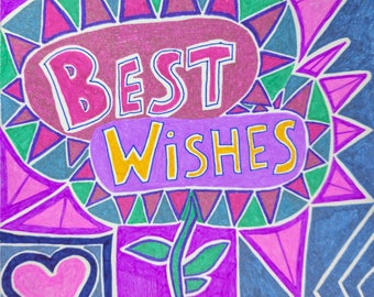 hand drawn best wishes card
