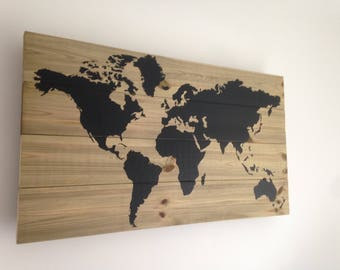 Wood World Map Wall Art Home Decoration Picture Wall hanging