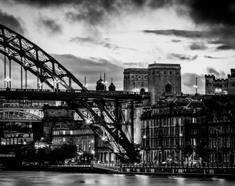 Landscape Photography, Black and White Landscape Photograph of The Tyne Bridge in Newcastle. Fine Art Photography, Wall Art