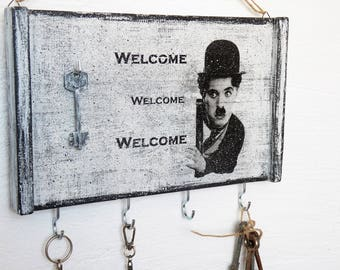 Key Holder, Key Holder Charlie Chaplin, Key Hooks, Wall Key Holder, Wall Key Hook, Charlie Chaplin Key Holder, Key holder for wall
