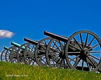 Cannons At Antietam National Battlefield, Color Photograph, Inspirational, Wood Craft, Re-Purposed Wood, Canvas Art, Civil War
