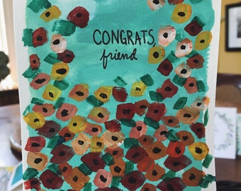 Handpainted Greeting Card- Congrats Friend