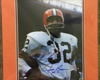8b1d11a43 authentic jim brown mens throwback jersey cleveland browns 32 autographed  home brown mitchell and ness nfl