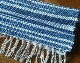 Rag Rug, Blue White Rag Rug, Handwoven Rug
