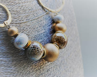Ceramic beads necklace with gold and Brown/Blue, handmade