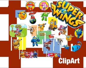 21 Super Wings ClipArt - Digital , PNG, image, picture,  oil painting, drawing,llustration, art , birthday,handicraft
