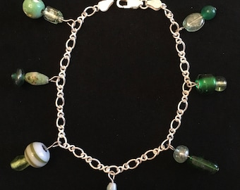 Sterling silver shades of green charm bracelet 8 inch