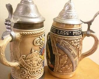 Vintage West Germany Beer Steins with lid