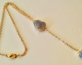 Chain Necklace With Blue Druse Charm/Gift Ideas. Birthday Gifts/Bridesmaids Ideas/Gold Chain Necklace/Gold Filled Chain/Jewelry Bag Included