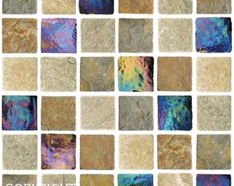 Pack Of 10 Iridescent Travertine Stone Effect Mosaic Tile Stickers Transfers,  With Added Gloss Affect Part 35