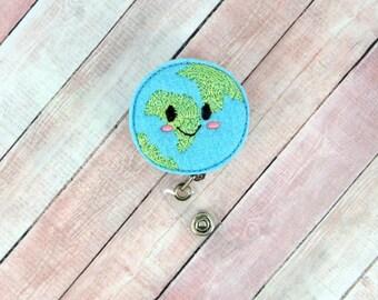 Happy Earth Badge Reel - Happy Earth - Feltie Badge Reel- Retractable ID Badge Holder - Badge Pull.