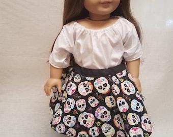 Sugar skull circle skirt for 18 inch doll