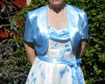 Handmade Blue Satin Bolero fully lined
