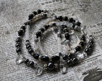 Double row necklace - Onyx Hematite crystal nuggets glass beads
