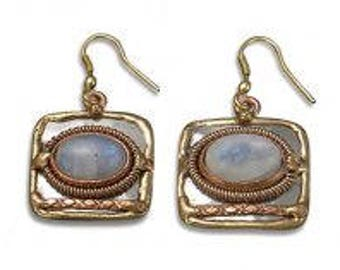 Mixed Metal Earrings - Moonstone