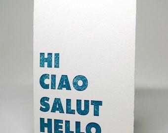 Letterpress Card: Hi Ciao Salut Hello