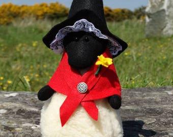 Sheep Doorstop. Welsh Lady Sheep Ornament