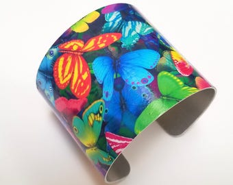 "2"" Aluminum Artisan Cuff Bracelet with Printed Butterfly Art Design."