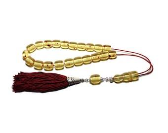 Worry Beads, Greek Komboloi, Champagne Amber color, Barrel shape beads, Dark Red Handmade Tassel, Relaxation, Meditation, Tesbih