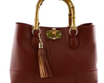 Woman Handbag with Bamboo Handles