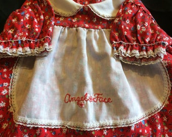 "Super Cute Vintage Floral Dress w/ Apron that says: ""Angel Face"" for Reborn/Doll"