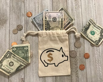 Piggy-Money-Saving-Favor Bags-Muslin Bag-kids-black-gold