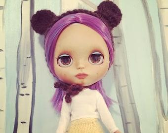Crochet bear hat for Blythe