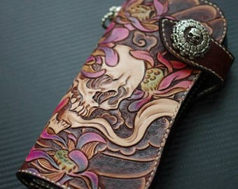 Handmade tooled leather biker wallet skull trucker wallet long wallet clutch